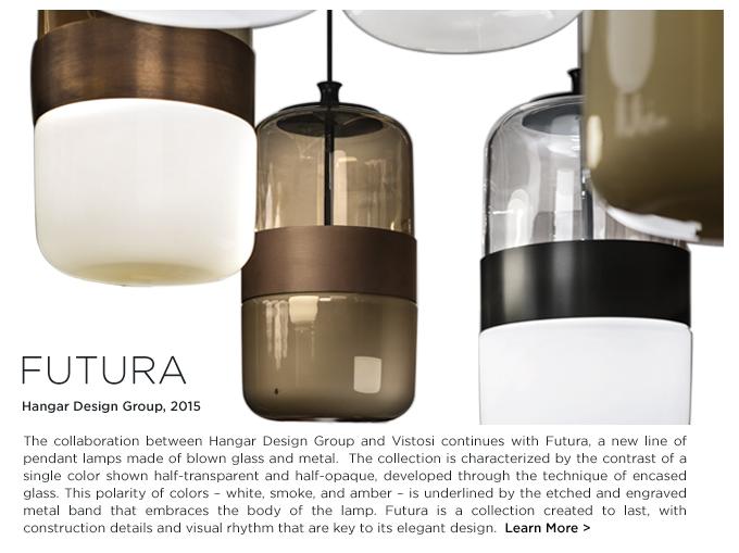 Vistosi Futura pendant, Vistosi futura, Hanger Design Group, white, smoke, amber, modern glass, hanging lights, modern murano glass pendant