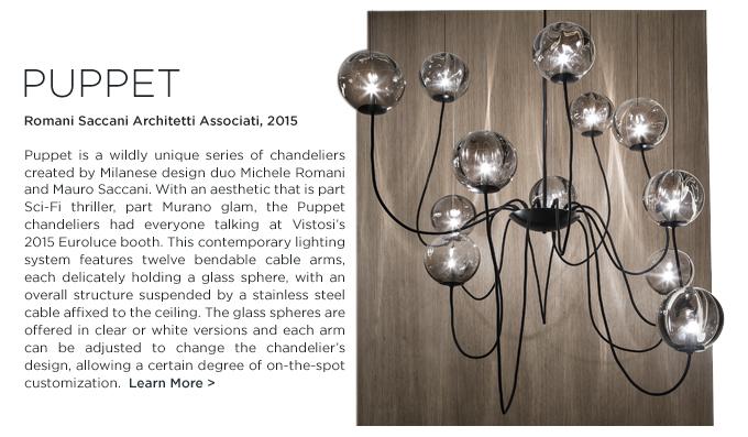 Vistosi, glass lighting, 2015, vistosi puppet, romani saccani, crystal lighting, murano chandelier