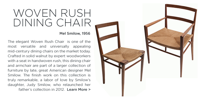 Mel Smilow Woven Rush Chair Smilow designs, modern walnut dining chair, american modern dining chair
