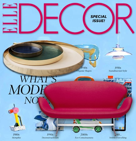 swan sofa, arne jacobsen, fritz hansen, republic of fritz hansen, settee, iconic furniture, iconic lounge seats, danish designer furniture, danish modern sofa, swan collection, pink upholstery, elle decor, september 2015, suite ny, suite new york, suiteny.com, skultuna, kauri trays, gam fratesi, home accessories, polished spun brass, dyed leather