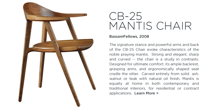 CB-25 Mantis chair Bassamfellows SUITE NY walnut modern armchair suiteny