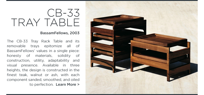 CB-33 tray rack table bassamfellows modern walnut side table suiteny craig bassam scott fellows