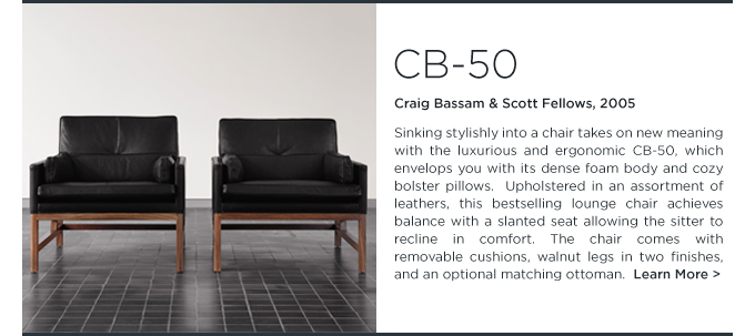 CB-50, Club chair, BassamFellows, leather, modern, craftsman, black, american, armchair