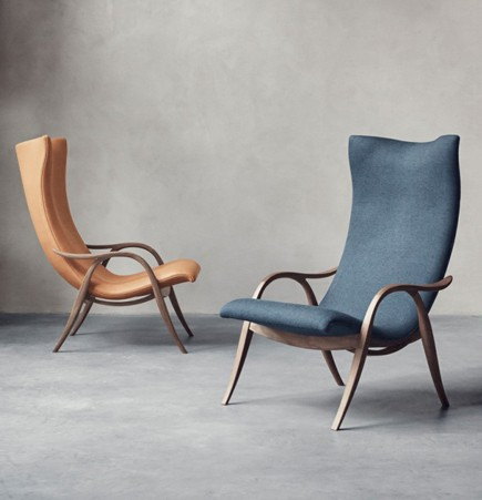 FH429 Signature Chair Frits Henningsen Carl Hansen blue orange upholstered modern arm chair curves
