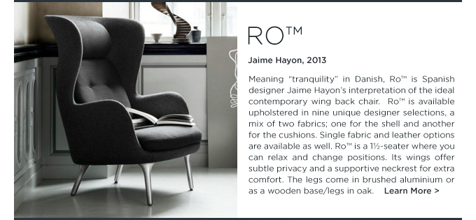 Jaime Hayon, Ro chair, fritz hansen, black upholstery, modern, wing chair