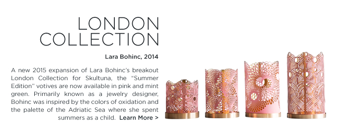 London Collection votives Lara Bohinc Skultuna candle holders pink blush modern home accessories