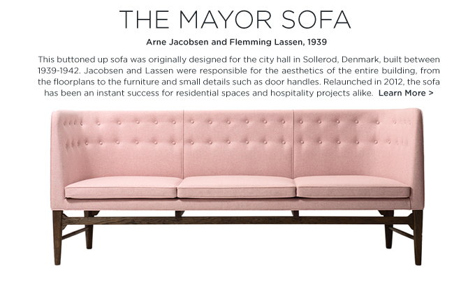 Mayor Sofa &Tradition pink tufted couch arne jacobsen fleming lassen midcentury modern danish furniture