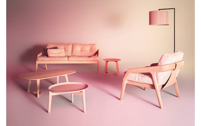 Pink modern furniture SUITE NY contemporary blush armchair stained wood zeitraum blog