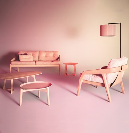 Pink modern furniture SUITE NY contemporary blush armchair stained wood zeitraum