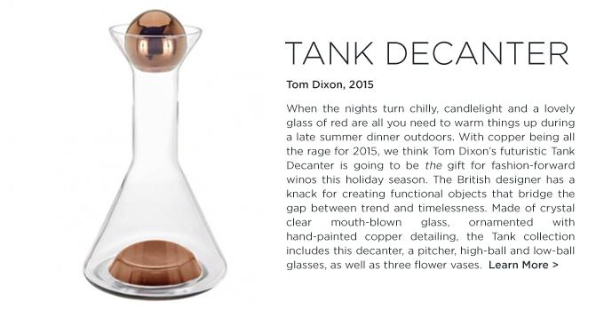 Tank decanter Tom Dixon copper glass modern barware