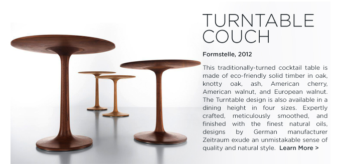Turntable couch table Zeitraum formstelle SUITE NY modern round wood sidetable
