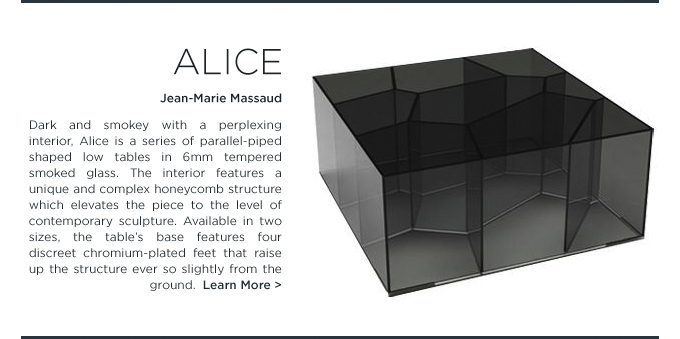 Alice smoked glass table Jean-Marie Massaud Glas Italia honeycomb black square coffee table