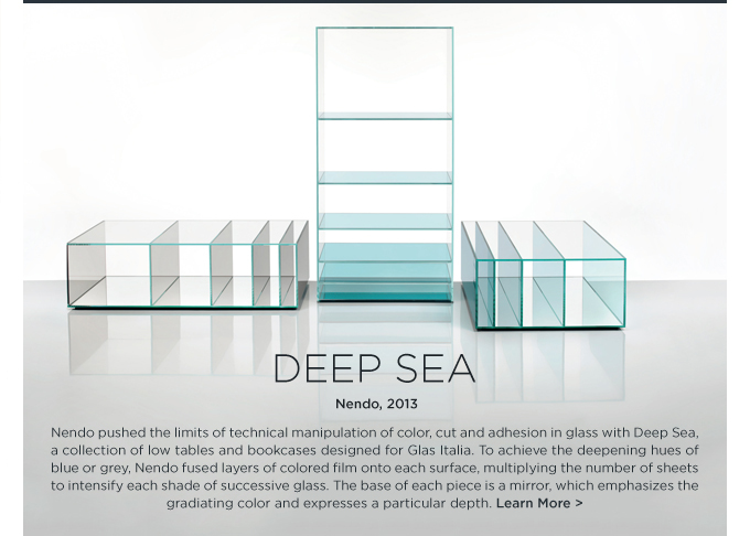 Deep Sea glass cabinet Nendo Glas italia modern blue bookshelf