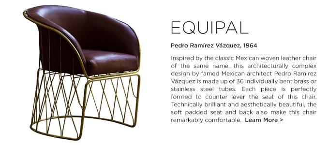 Equipal chair Pedro Ramirez Vazquez Luteca modern mexican design woven brass lounge