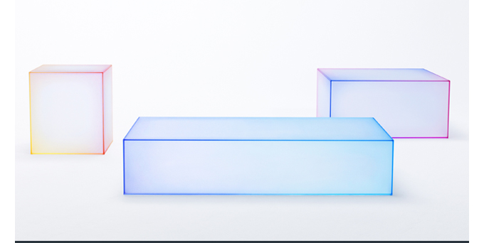 Nendo Soft Tables Glas Italia colorful glass boxes for blog