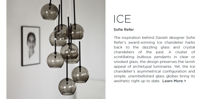 Sofie Refer Ice chandelier light andtradition smoked glass pendant lighting