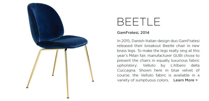 beetle chair, gamfratesi, gubi, blue velvet, brass legs, italian design, furniture, contemporary