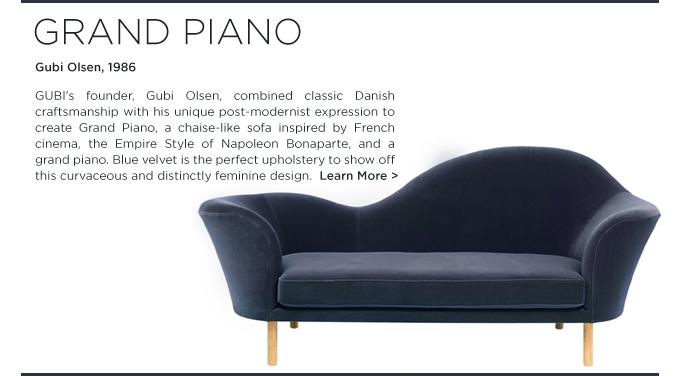 grand piano, gubi olsen, blue velvet, sofa, lounge, upholstered furniture, italian design, contemporary