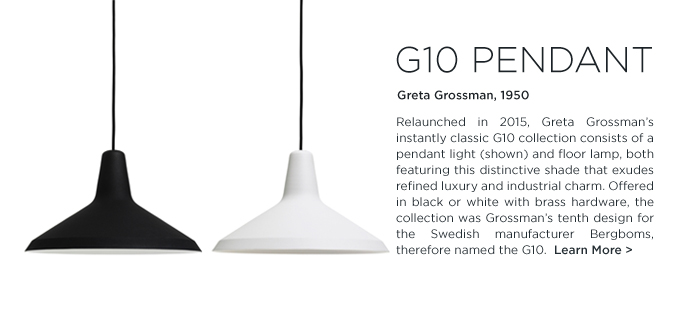 G-10 Pendant greta grossman GUBI hanging pendant light black white