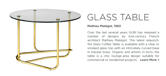 Mathieu Mategot glass coffee table brass base round clear smoked glass cocktail table