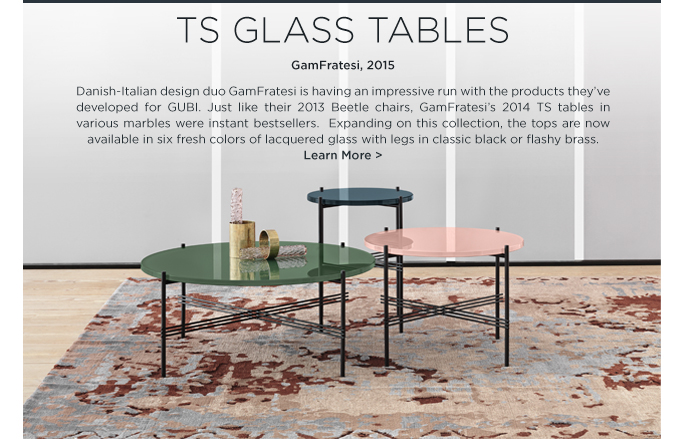TS Tables GamFratesi colored glass GUBI pink green blue lacquered glass