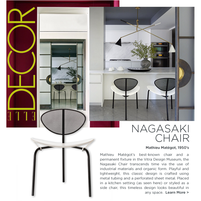 kelly behun studio featured in elle decor nagasaki chair mathieu mategot french design danish designer furniture suite ny new york