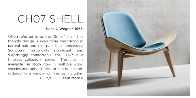 BABY blue ch07 shell lounge chair hans j wegner iconic danish designer furniture carl hansen and son suite ny