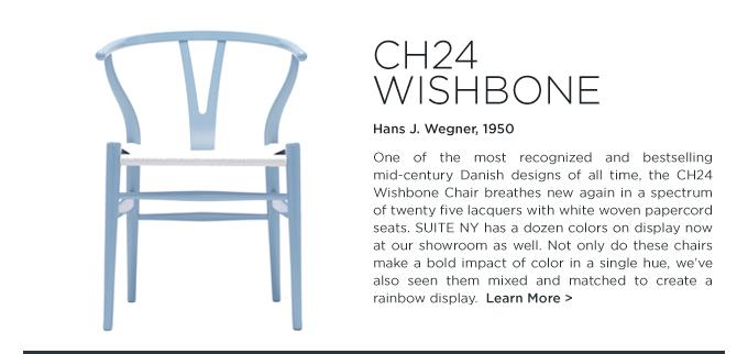 Baby blue ch24 wishbone dining chair hans j wegner carl hansen and son