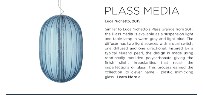 Baby blue plass media suspension pendant lamp fixture luca nichetto foscarini designer italian lighting suite ny