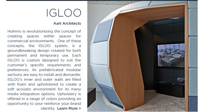 Igloo Holmris spaces modular mobile environments SUITE NY commercial workspace furniture