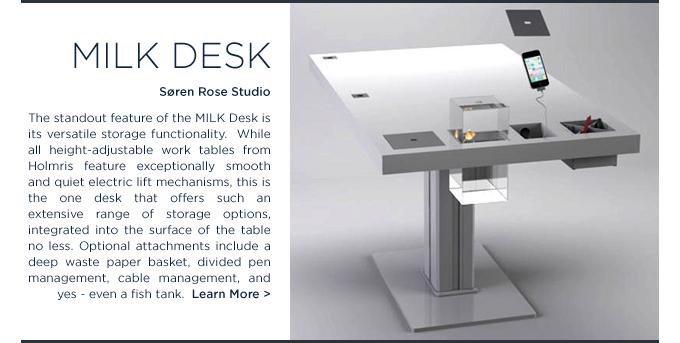 Milk Desk Soren Rose Studio Holmris SUITE NY white height adjustable workstation