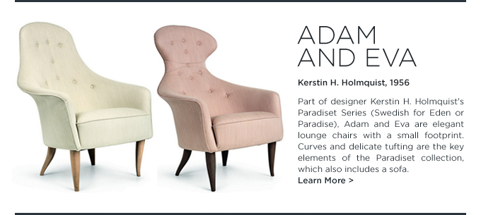 Adam Eva Kerstin Holmquist GUBI tufted lounge chairs pink white cream suiteny modern tufting furniture