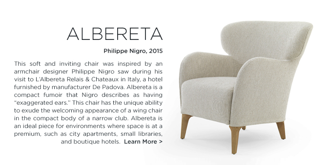 Albereta Chair Philippe Nigro De Padova DePadova white modern compact club chair wing