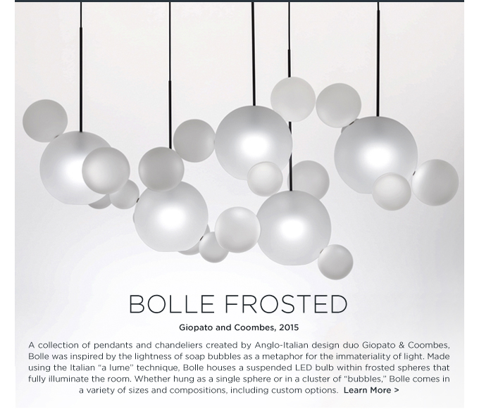Bolle Frosted Giopato Coombes murano glass bubbles LED chandelier