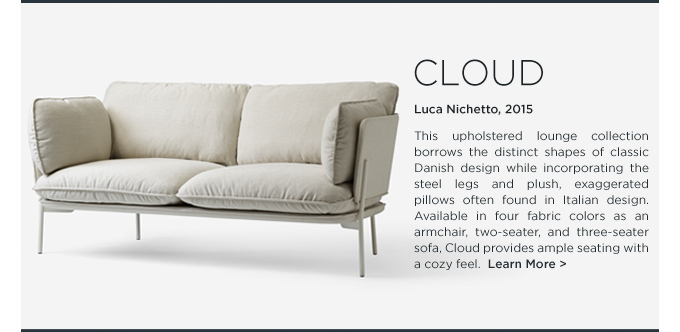 Cloud Sofa Luca Nichetto Andtradition white overstuffed pillows lounge seating