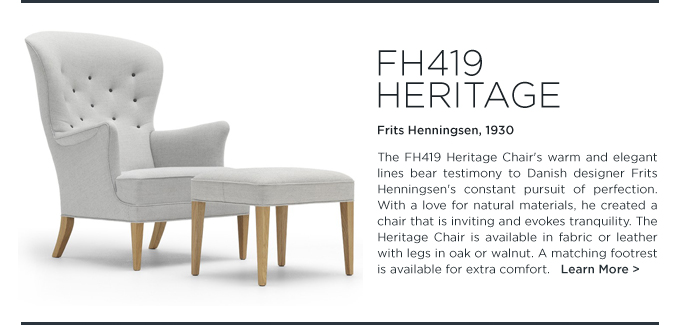 FH419 Heritage Chair Carl Hansen Frits Henningsen modern tufted wing chair armchair suiteny light grey