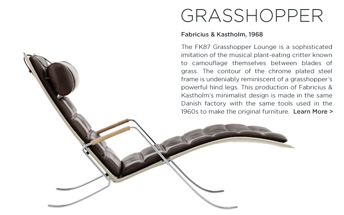 Flora and Fauna FK87 grasshopper lounge lange production brown leather Fabricius Kastholm furniture suite ny