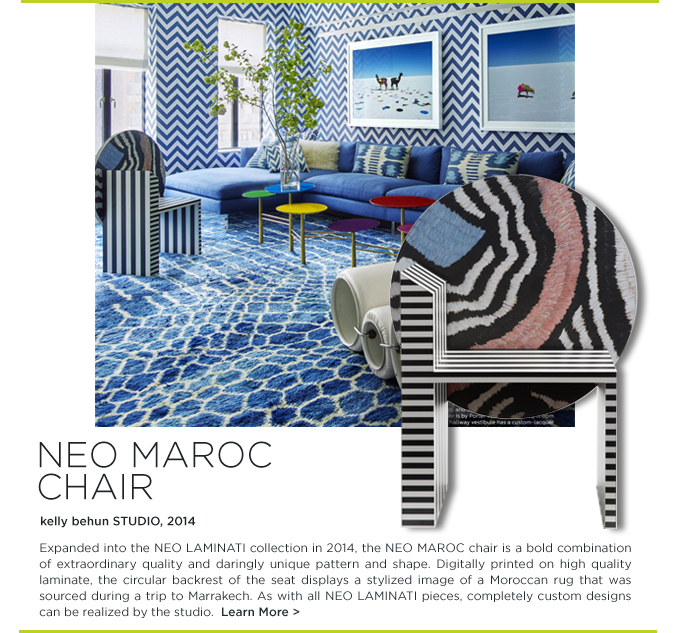 Kelly Behun Studio Elle Decor November 2015 modern blue living room neo maroc chair laminate black and white furniture