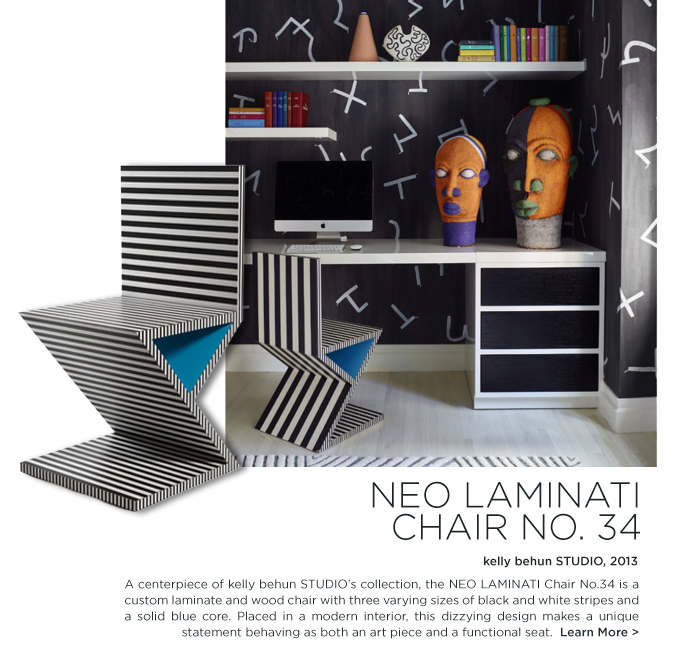 Kelly Behun Studio Elle Decor November 2015 modern neo laminati chair laminate black and white furniture desk