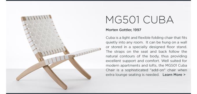 MG501 Cuba Chair Morten Gottler Carl Hansen white folding chair woven strapping