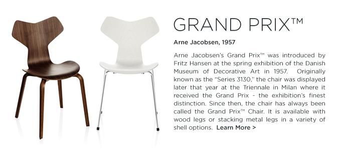 Arne Jacobsen Grand Prix chair fritz hansen wood leg series 3130 stackable danish modern