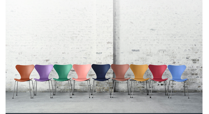 Arne Jacobsen Series 7 chair colorful stacking side chair Tal R colors fritz hansen 1