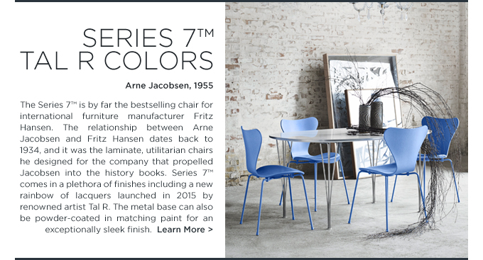 Arne Jacobsen Series 7 chair pantone eternity blue colorful stacking side chair Tal R colors fritz hansen