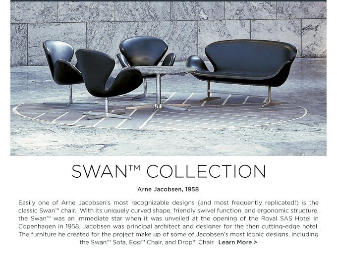 Arne Jacobsen Swan chair black leather swan sofa fritz hansen danish iconic modern furniture