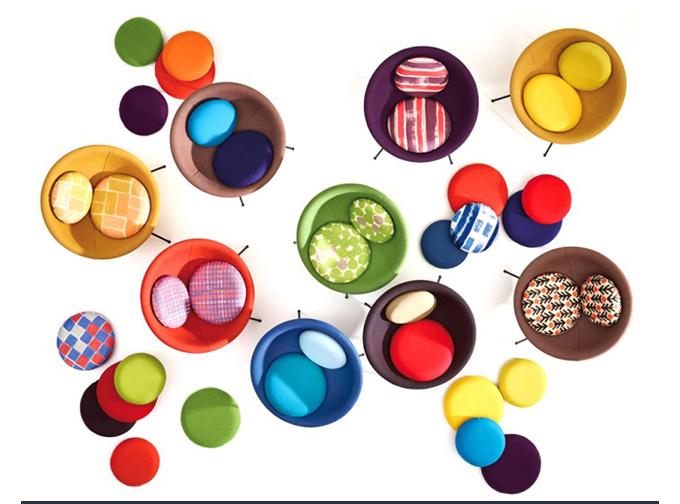 Arper Bardi Bowl Lina Bo bardi round modern lounge chair colorful circular papasan opening image