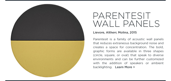Arper Parentesit acoustic wall panels yellow black noise cancelling sound dampening circular round upholstered panel