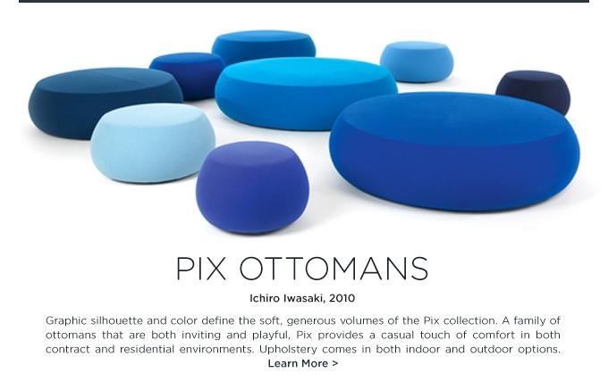 Arper Pix Pouf Ichiro Iwasaki round upholstered ottomans blue colorful circular lounge seating
