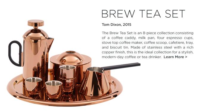 Brew Tea Set Tom Dixon copper tea caddy metallic coffee pot modern kitchen accessories
