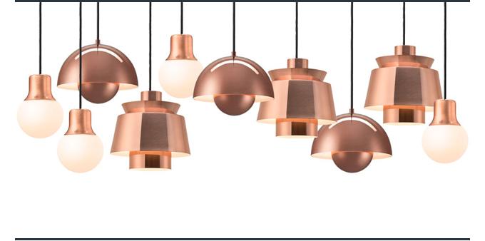 Copper pendant light suite ny &tradition andtradition utzon flowepot verner panton