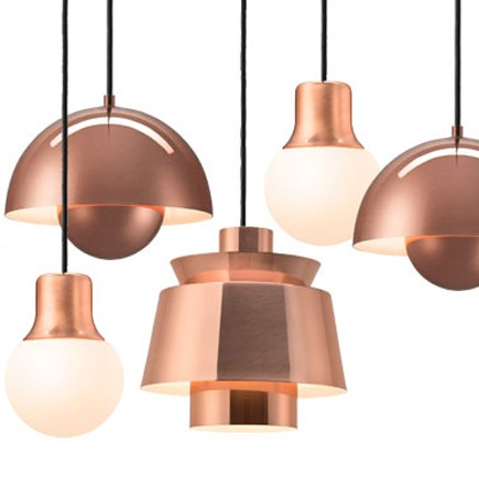 Copper pendant light suite ny &tradition andtradition utzon flowepot verner panton
